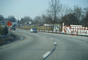 Westbound U.S. Route 422 at the merge onto the...