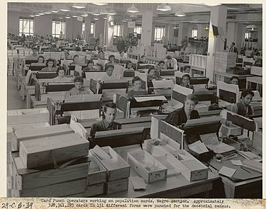 Racially segregated Negro section of keypunch operators at the US Census Bureau US Census Bureau keypunch operators, Negro section.jpg