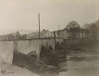 US Infantry crossing Echternach bridge, 1918