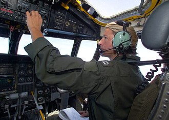 Aeronautical mobile (OR) service - Image: US Navy 030806 N 8629M 002 Lt. Stacy Justeson, a pilot with the 'Providers' of Fleet Logistics Squadron Thirty (VRC 30)