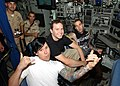 US Navy 030825-N-4943L-002 Members of the rock band Blink-182 sit at the ship's controls pier-side aboard the nuclear-powered attack submarine USS Memphis (SSN 691).jpg