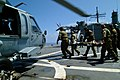 US Navy 050405-N-0357S-002 Australian medics carry one of two Australian service members who survived an April 2, 2005 crash of a Royal Australian Navy Sea King helicopter in Nias, Indonesia, to an awaiting MH-60S Seahawk helic.jpg