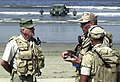 US Navy 050629-N-2197S-002 Chief Warrant Officer Timothy Smith, assigned Beachmaster Unit One (BMU-1), gives an overview of the demonstrations, which will occur during the taping of The History Channel's Mail Call.jpg