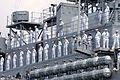 US Navy 060606-N-1688B-096 Sailors man the rails as the amphibious transport dock USS Nashville (LPD 13), an element of the amphibious assault ship USS Iwo Jima Expeditionary Strike roup (ESG), departs Naval Station Norfolk.jpg