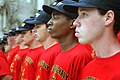 US Navy 070906-N-3271W-001 Members of the 49th Cardinal Company, a group of enlisted recruits from Navy Recruiting District St. Louis, prepare for their oath of enlistment.jpg