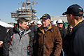 US Navy 080125-N-2510R-001 Former President George H. W. Bush speaks with Mike Petters, President of Northrop Grumman shipyard and Capt. Kevin O'Flaherty, commanding officer of the Precommissioning Unit (PCU) George H.W. Bush (.jpg