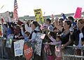 US Navy 081007-N-9584N-001 Friends and family of Sailors assigned to Naval Mobile Construction Battalion (NMCB) 3 wait for the arrival of a plane returning NMCB-3 Sailors to Naval Air Station Point Mugu, Calif.jpg