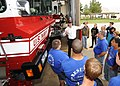 US Navy 091007-N-4781D-003 Fire Inspector Lucas Free gives local Texas students from Joshua High School a tour of Naval Air Station Fort Worth Joint Reserve Base during Fire Prevention Week.jpg