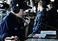 US Navy 100913-N-7508R-011 Boatswain's Mate Seaman Alycia Wilson relays messages through the sound-powered phone on the bridge of USS Bataan (LHD 5.jpg