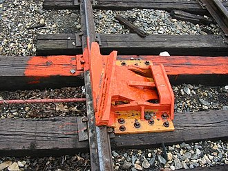 Derail - A derail device installed on a siding at Glen Haven, Wisconsin, oriented to protect track located off the bottom of the picture