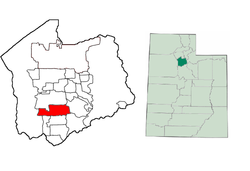 Two maps.  First map is a map of Utah with a colored in section in the middle representing where Salt Lake County is located.  Second map is a map of Salt Lake County has a colored in section in the southwest showing where South Jordan is located.