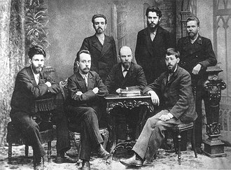 Vladimir Lenin - Lenin (seated centre) with other members of the League of Struggle for the Emancipation of the Working Class in 1897