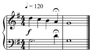 Fermata symbol of musical notation indicating that the note should be prolonged beyond its normal duration or note value would indicate