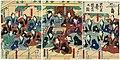 Utagawa Kunisada II - Celebration at the Nakamura Theater - Actors Kawarazaki Gonjûrô I, Moritaya Kan'ya XII, Ichimura Uzaemon XIII, Ichikawa Shinsha I, Tokiwazu Komojidayû, Sawamura Tosshô II, Nakamura Shikan IV; Nakamura Kanza.jpg