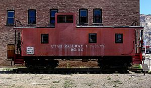 Utah Railway - Former Union Pacific CA-1 Caboose on display in Helper. The Utah Railway purchased eight of these cabooses from the UP between 1918 and 1927.