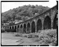 VIEW OF STONE ARCHES, OHIO SIDE - Baltimore and Ohio Railroad, Benwood Bridge, Benwood, Marshall County, WV HAER WVA,26-BEN,1-5.tif