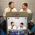 VOA Eurasia Division's Bratislav Djordjevic (L) and Alen Mlatisuma (R) reporting from the DNC in Philadelphia.jpg