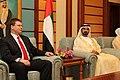 Valdis Dombrovskis tiekas ar AAE premjeru Mohamedu bin Rašidu Almaktūmu (6826030608).jpg