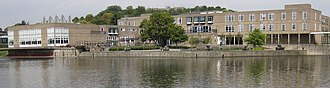 "Vanbrugh College, York - Panorama of Vanbrugh ""paradise"" viewed from across the lake"