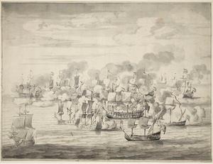 Battle of Cádiz (1669) - Van de Velde's drawing of the battle, based on Hollar's eyewitness engraving