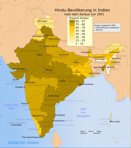 Datei:Verbreitung des Hinduismus in Indien 2001.png
