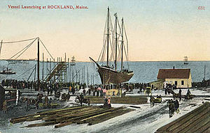Rockland, Maine - Vessel launching c. 1900