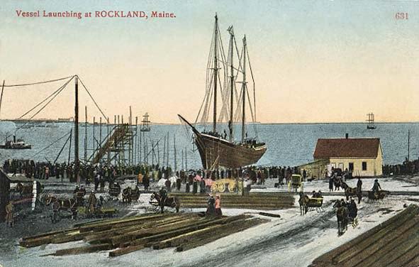 Vessel Launch Postcard 1900