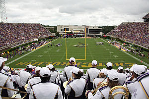 Dowdy–Ficklen Stadium - Image: View from the Boneyard at Dowdy Ficklen Stadium 2014 06 09 20 10