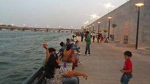 Riverfront - View of Sabarmati Riverfront in Ahmedabad, May 2012