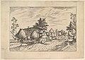 Village Street, hay stacked in front of a farm from Praediorum villarum et rusticarum casularum icones elenoantissimae ad vivum in apre deformatae MET DP825674.jpg