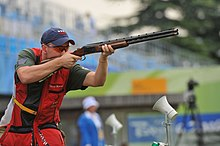 Vincent Hancock at 2008 Summer Olympics men's skeet finals 2008-08-16.JPG