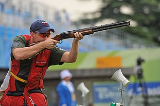 Shooting at the 2008 Summer Olympics - Vincent Hancock in the finals for men's skeet, in which he earned the gold medal and set records both in the qualifying and finals.
