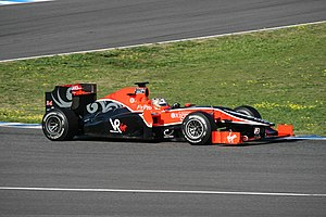 Virgin Racing - Timo Glock testing the Virgin VR-01 during pre-season testing in Jerez, in February 2010.