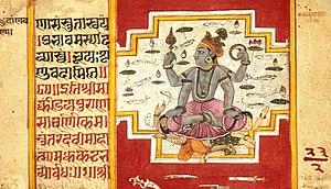 Madhu-Kaitabha - Vishnu killing Madhu-Kaitabha - a folio from Devi Mahatmya