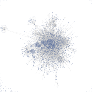 Visualization of a link structure in a wiki, created with Prefuse. Node size represents the amount of activity on the wiki on a given day.