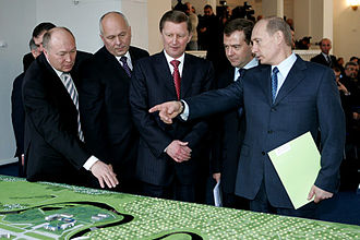 Aircraft industry of Russia - President of OAO United Aircraft Corporation (UAC) Alexei Feodorov (left) with Sergei Ivanov, President Dmitry Medvedev and Prime Minister Vladimir Putin (right) in 2008.