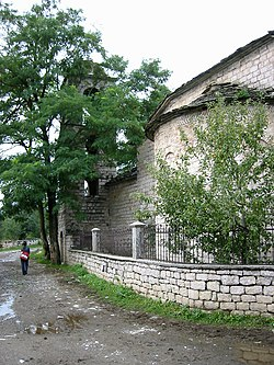 Voskopoja church outside.jpg