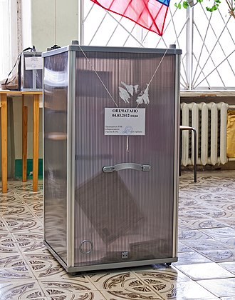 Electoral fraud - Transparent ballot box used in Russia to prevent election officials from pre-stuffing box with fake ballots.