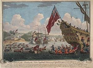 King George's War - Image: Vue du debarquement anglais pour l attaque de Louisbourg 1745