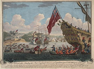 Siege of Louisbourg (1745) - The landing of troops from New England on the island of Cape Breton to attack Louisbourg. (Drawing 1747)
