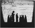 WPA-Federal Theater Project-figures silhouetted against backdrop of Constitution-untitled - NARA - 197267.tif