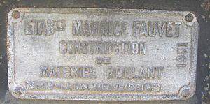 Arbel Fauvet Rail - builder's plate of a 1931 tank wagon