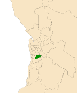 Map of Adelaide, South Australia with electoral district of Waite highlighted
