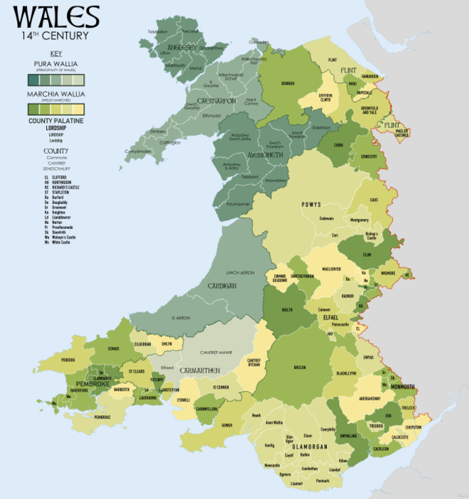 Wales in the 14th Century showing Marcher Lordships Wales 14C Map.png
