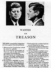 A right-wing anti-Kennedy handbill/poster circulated on November 21, 1963 in Dallas, Texas — one day before the assassination of John F. Kennedy.
