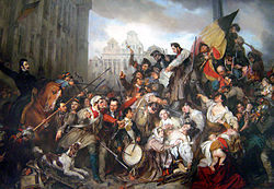 Episode of the Belgian Revolution of 1830 (1834)by Egide Charles Gustave Wappers,in the Ancient Art Museum, Brussels.