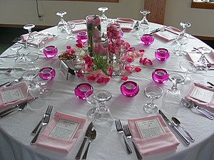 Ménage problem - A table with ten place settings. There are 3120 different ways in which five male-female couples can sit at this table such that men and women alternate and nobody sits next to their partner.
