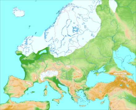 Europe during the Last Glacial Maximum ca. 20,000 years ago Weichsel-Wurm-Glaciation.png