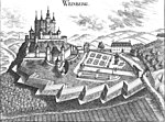 Castle Weinberg in Kefermarkt, southern side, Upper Austria, drawn by G. M. Vischer 1674.