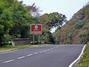 Ayrshire - Entering Ayrshire on the northbound A77